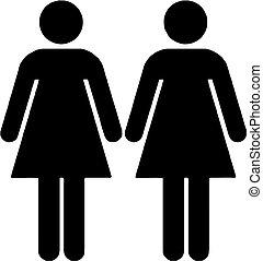 lesbian couple isolated vector illustration