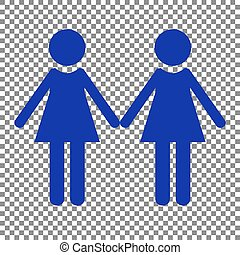 Lesbian family sign. Blue icon on transparent background.
