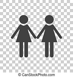 Lesbian family sign. Dark gray icon on transparent background.