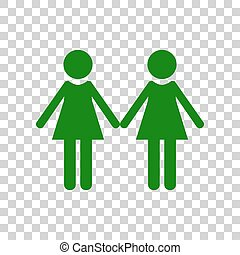 Lesbian family sign. Dark green icon on transparent background.