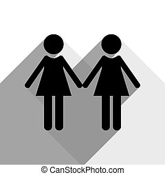 Lesbian family sign. Vector. Black icon with two flat gray shadows on white background.