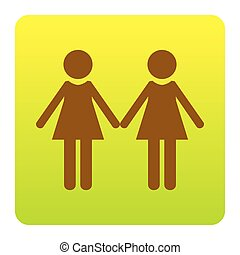 Lesbian family sign. Vector. Brown icon at green-yellow gradient square with rounded corners on white background. Isolated.