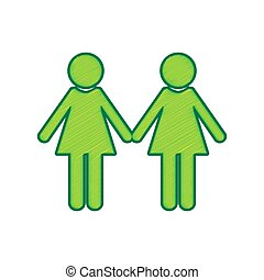 Lesbian family sign. Vector. Lemon scribble icon on white background. Isolated