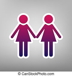 Lesbian family sign. Vector. Purple gradient icon on white paper at gray background.