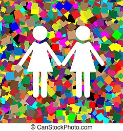 Lesbian family sign. Vector. White icon on colorful background w
