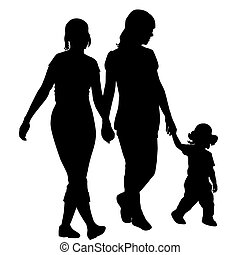 Lesbian family silhouettes with kid