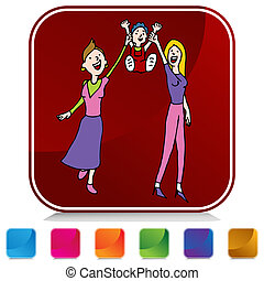 Lesbian Gay Adoption Button Set - An image of a Lesbian Gay ...