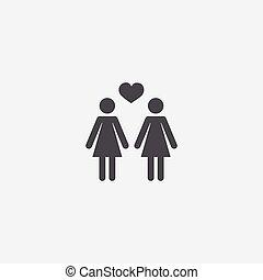 lesbian icon, isolated, white background