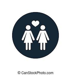 lesbian icon. - lesbian icon on white background.