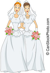 Lesbian Marriage with Clipping Path