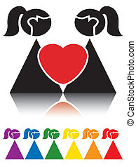 Lesbian sign - Simple signs representing homosexual couple.