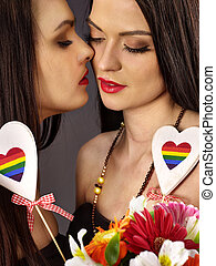 Lesbian women with heard  in erotic foreplay game