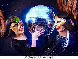 Lesbians women dancing on party