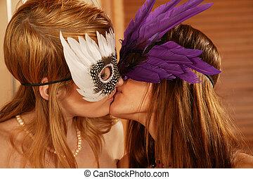 lesbica, passione, baciare coppie
