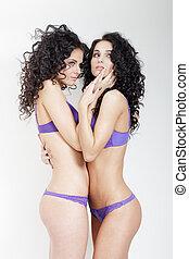 lesbica, play., due, belle ragazze, amore, preliminari amorosi