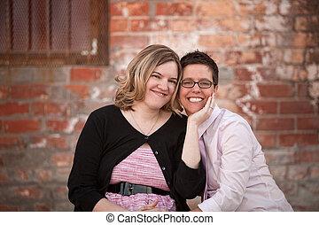 lesbienne couple, dehors