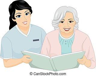 lesen, ältere frau, krankenschwester
