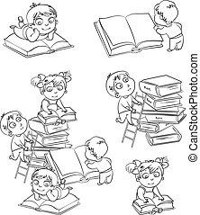 lesende , buecher, kinder