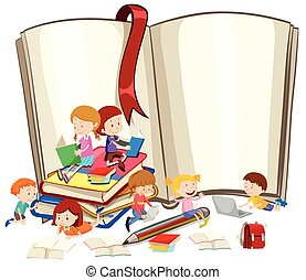 lesende , buecher, kinder, zusammen