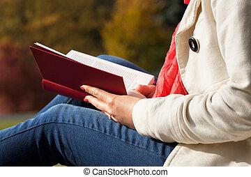 lesende , draußen
