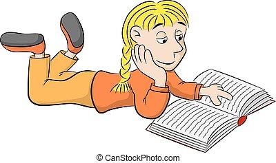 Lesen verz ckt karikatur kind lesen verz ckt vektor for Boden liegen