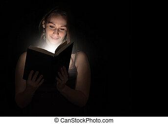 lesende , nacht