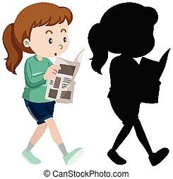 lesende , papier, silhouette, nachrichten, frau, farbe