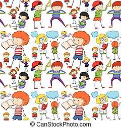 lesende , seamless, lernen, kinder