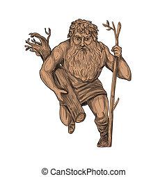 Leshy Tree Runk Staff Tattoo - Tattoo style illustration of...