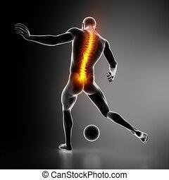 lesión, deportista, espinazo