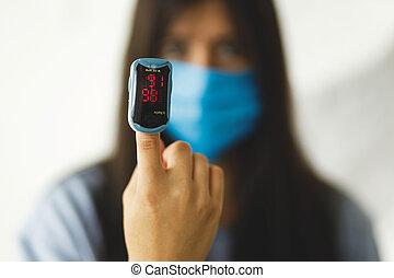 lesión, pulmones, pulso, pneumonia, virus., mano, oximeter, hogar, detector, coronavirus
