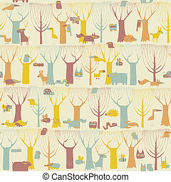 lesisty teren, zwierzęta, seamless, próbka