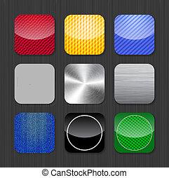 lesklý, a, kovový, app, ikona, šablona