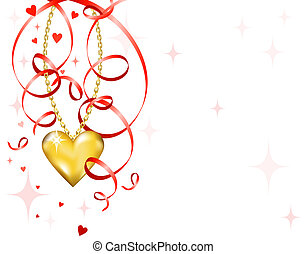 lesklý, zlatý heart