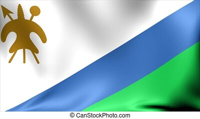 Lesotho Flag. Background Seamless Looping Animation. 4K High Definition Video.