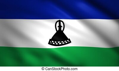 Lesotho flag moves in the wind