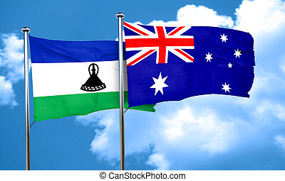 Lesotho flag with Australia flag, 3D rendering