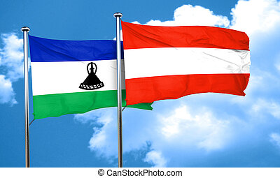 Lesotho flag with Austria flag, 3D rendering
