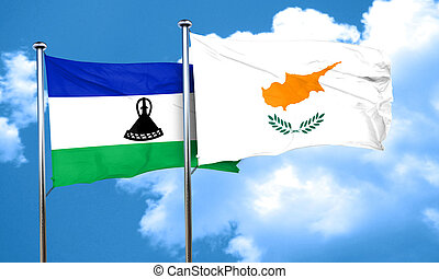 Lesotho flag with Cyprus flag, 3D rendering