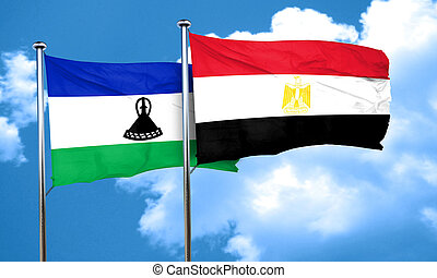 Lesotho flag with egypt flag, 3D rendering
