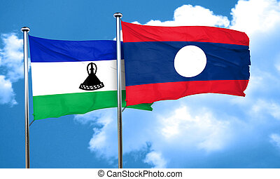 Lesotho flag with Laos flag, 3D rendering