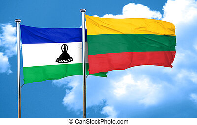 Lesotho flag with Lithuania flag, 3D rendering