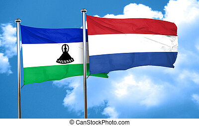 Lesotho flag with Netherlands flag, 3D rendering