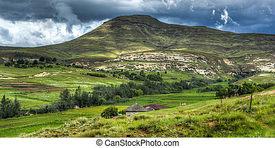 Lesotho Landscape - Hilly landscape of the Butha-Buthe...