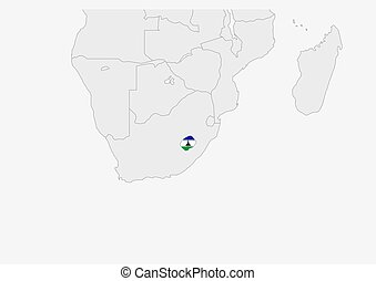 Lesotho map highlighted in Lesotho flag colors, gray map ...