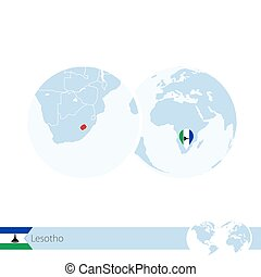 Lesotho on world globe with flag and regional map of...