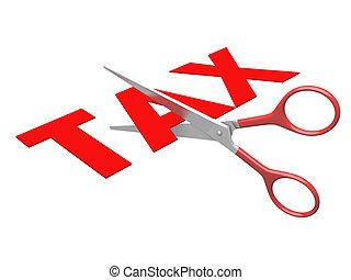 less tax - 3d image of scissor cut tax text