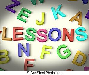 lessen, geschreven, in, veelkleurig, plastic, geitjes, brieven