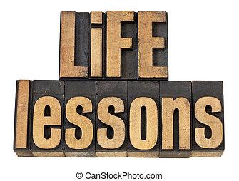 lessen, leven, tekst, -, hout, type