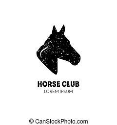 lessen, paarde, ruiter, club, hoofd, illustratie, club, profiel, school, vector, mal, logo, paardrijden, sportende, badge